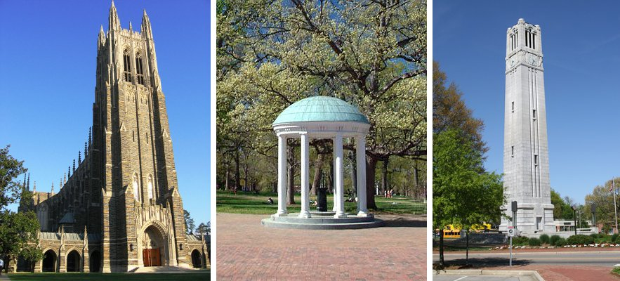 Duke Chapel, the Old Well at UNC, and the Bell Tower at NC State